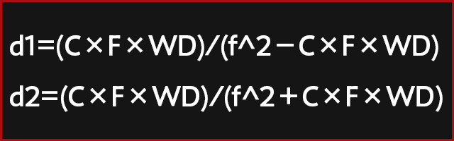 Equation for determining depth of field